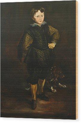 Replica Of Sir Anthony Van Dyck's Filippo Cattaneo Wood Print by Tigran Ghulyan