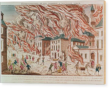 Representation Of The Terrible Fire Of New York Wood Print by French School