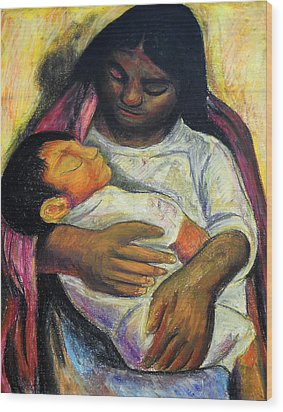 Reproduction Of Diego Rivera's- Mother And Child Wood Print by Duwayne Washington