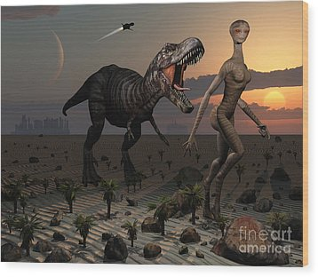 Reptoids Tame Dinosaurs Using Telepathy Wood Print by Mark Stevenson