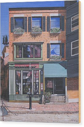 Wood Print featuring the painting Restaurant Boston North End by Stuart B Yaeger
