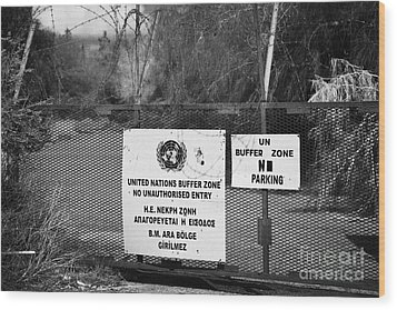 restricted area of the UN buffer zone in the green line dividing north and south cyprus in nicosia Wood Print by Joe Fox