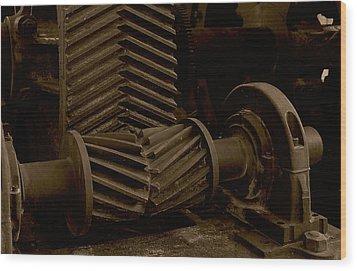 Retired Mining Machine Wood Print by Jephyr Art