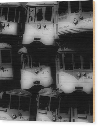 Retired Streetcars Wood Print