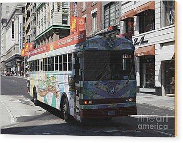 Retro 60s San Francisco Haight Ashbury Magic Bus - 5d18009 Wood Print by Wingsdomain Art and Photography