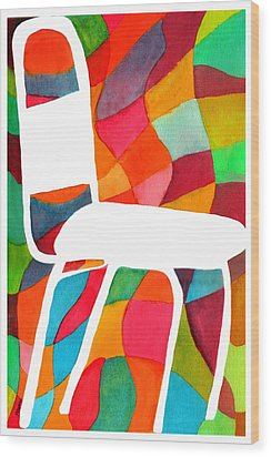 Retro Dinette Chair Wood Print by Paula Ayers