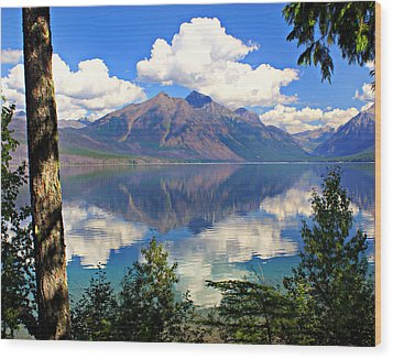 Rflection On Lake Mcdonald Wood Print by Marty Koch