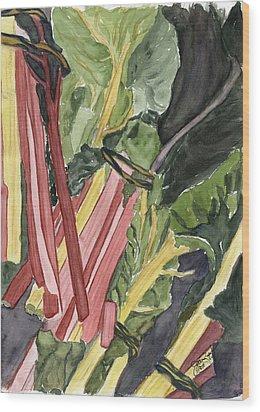 Rhubarb Study Wood Print by Joan Zepf