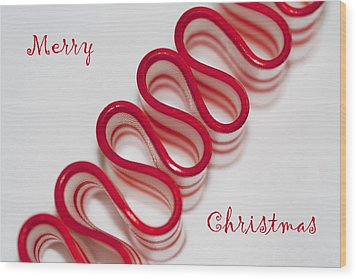 Ribbon Candy Peppermint Merry Christmas Wood Print by Kathy Clark