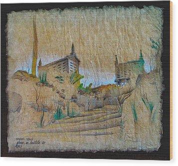 Rice Storage In Muros 1982 Wood Print by Glenn Bautista