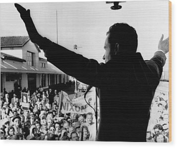 Richard Nixon Campaigning For Governor Wood Print by Everett