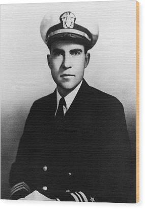 Richard Nixon. Navy Lieutenant Wood Print by Everett