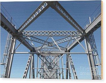 Richmond-san Rafael Bridge In California - 5d19549 Wood Print by Wingsdomain Art and Photography