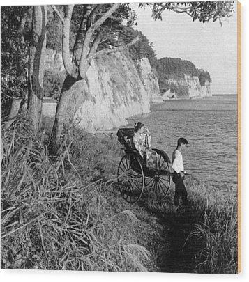 Rickshaw By The Negishi Seashore Wood Print by Everett