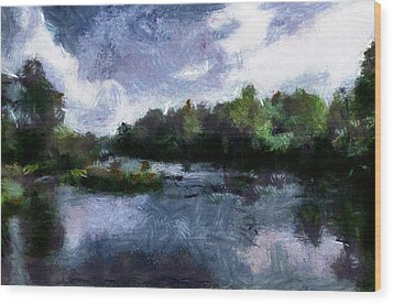 Wood Print featuring the painting Rideau River View From A Bridge by Mario Carini