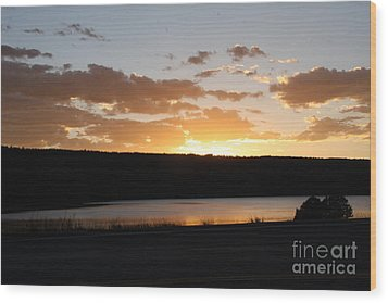 Ridgway Reservoir Sunset Wood Print