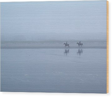 Wood Print featuring the photograph Riding In The Mist by Peter Mooyman