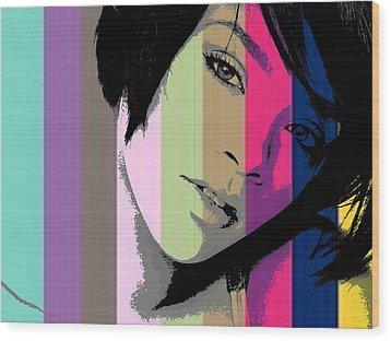 Rihanna 2 Wood Print by Chandler  Douglas