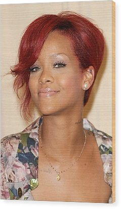Rihanna At Arrivals For Rhianna  Book Wood Print by Everett