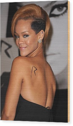 Rihanna At In-store Appearance Wood Print by Everett