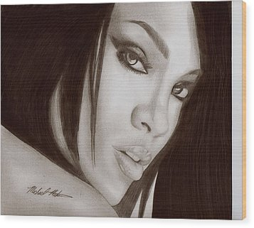 Rihanna Wood Print by Michael Mestas