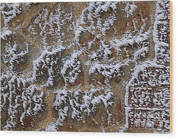 Rime-covered Brick And Stone Wall Wood Print by Mark Taylor