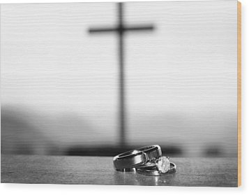 Wood Print featuring the photograph Rings And Cross by Kelly Hazel