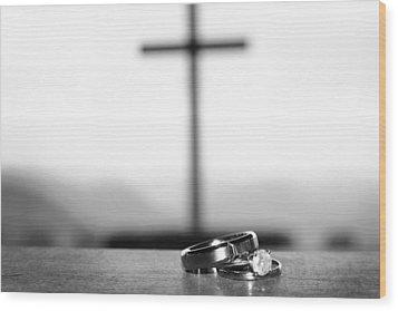 Rings And Cross Wood Print by Kelly Hazel