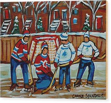 Rink Hockey Montreal Street Scenes Wood Print by Carole Spandau