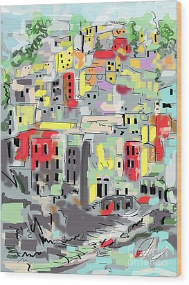 Riomaggiore Italy Moucasso Painting Wood Print by Ginette Callaway