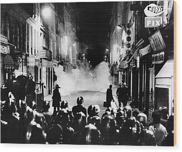Riot Policemen At A Burning Barricade Wood Print by Everett