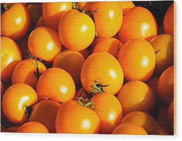 Ripe Yellow Tomatoes Wood Print by Connie Cooper-Edwards