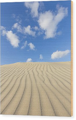 Rippled Sand Dune And Blue Sky With Clouds Wood Print by Rob Kints