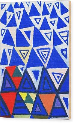 Rising Blue Triangles Wood Print by Kazuya Akimoto