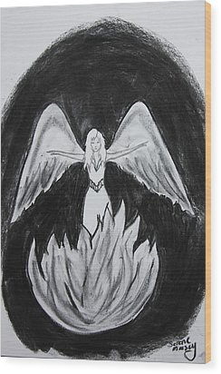 Wood Print featuring the drawing Rising From The Flames by Serene Maisey
