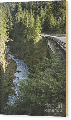 River In Gorge Next To Highway Wood Print by Ned Frisk