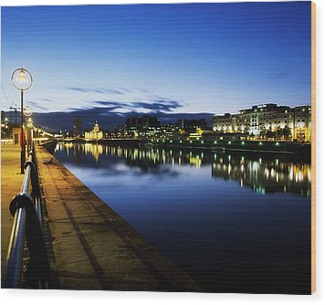 River Liffey, Sunset, View Of Customs Wood Print by The Irish Image Collection
