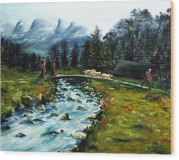 Wood Print featuring the painting River Of Dreams by Itzhak Richter