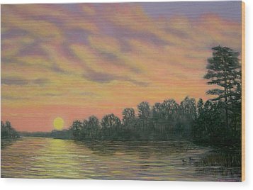 Wood Print featuring the painting River Reflections by Kathleen McDermott