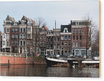 Wood Print featuring the digital art River Scenes From Amsterdam by Carol Ailles