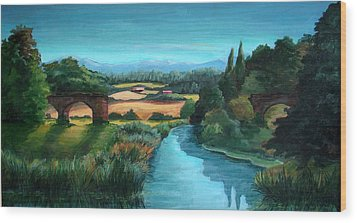 River Stour At Sturminster Newton Dorset England Wood Print by Ethel Vrana