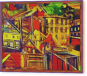 River Town In Ohio Wood Print by Mindy Newman
