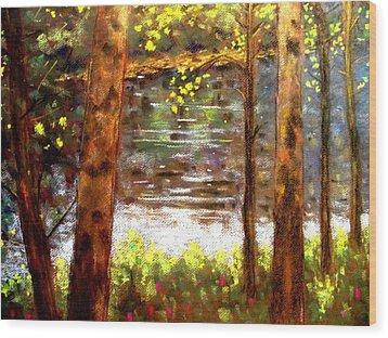 River Trees Wood Print by John  Nolan