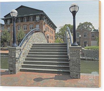 River Walk Bridge In Frederick Maryland Wood Print by J Jaiam