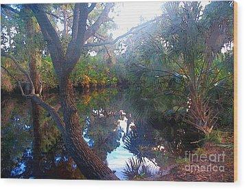 Riverbank Reflections1 Wood Print