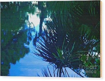 Riverbank Reflections3 Wood Print