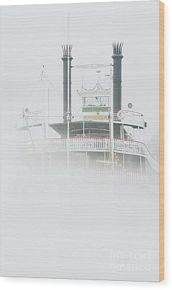 Riverboat In The Fog Wood Print by Jeremy Woodhouse