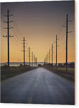 Road And Power Lines At Sunset Wood Print by Www.jodymillerphoto.com