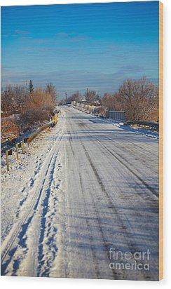 Road In Winter Wood Print by Gabriela Insuratelu