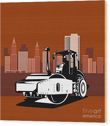 Road Roller  Retro  Wood Print by Aloysius Patrimonio